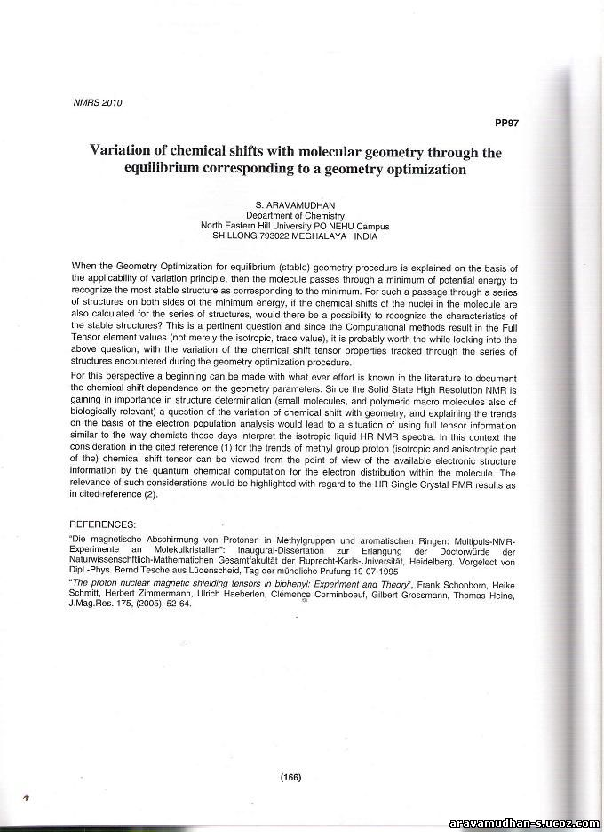 Page of NMRS2010 Abstract book containing Aravamudhan's Abstract: Click on image for enlarged view